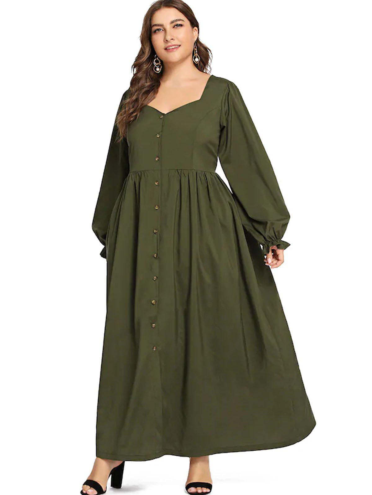 Store Plus Size Button Long Vintage Dress