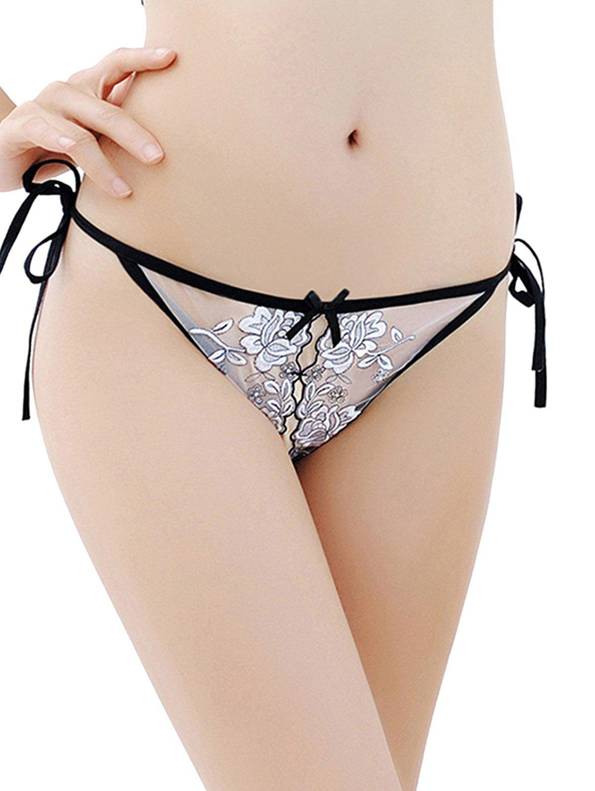 Shop Sexy Embroidered Lace-Up Placket Panties Underwear