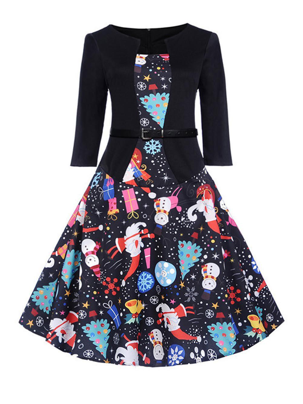 Fashion Hepburn Vintage Series Women Dress Spring And Summer Round Neck Christmas Printing Design 3/4 Sleeve Belt Corset Dress