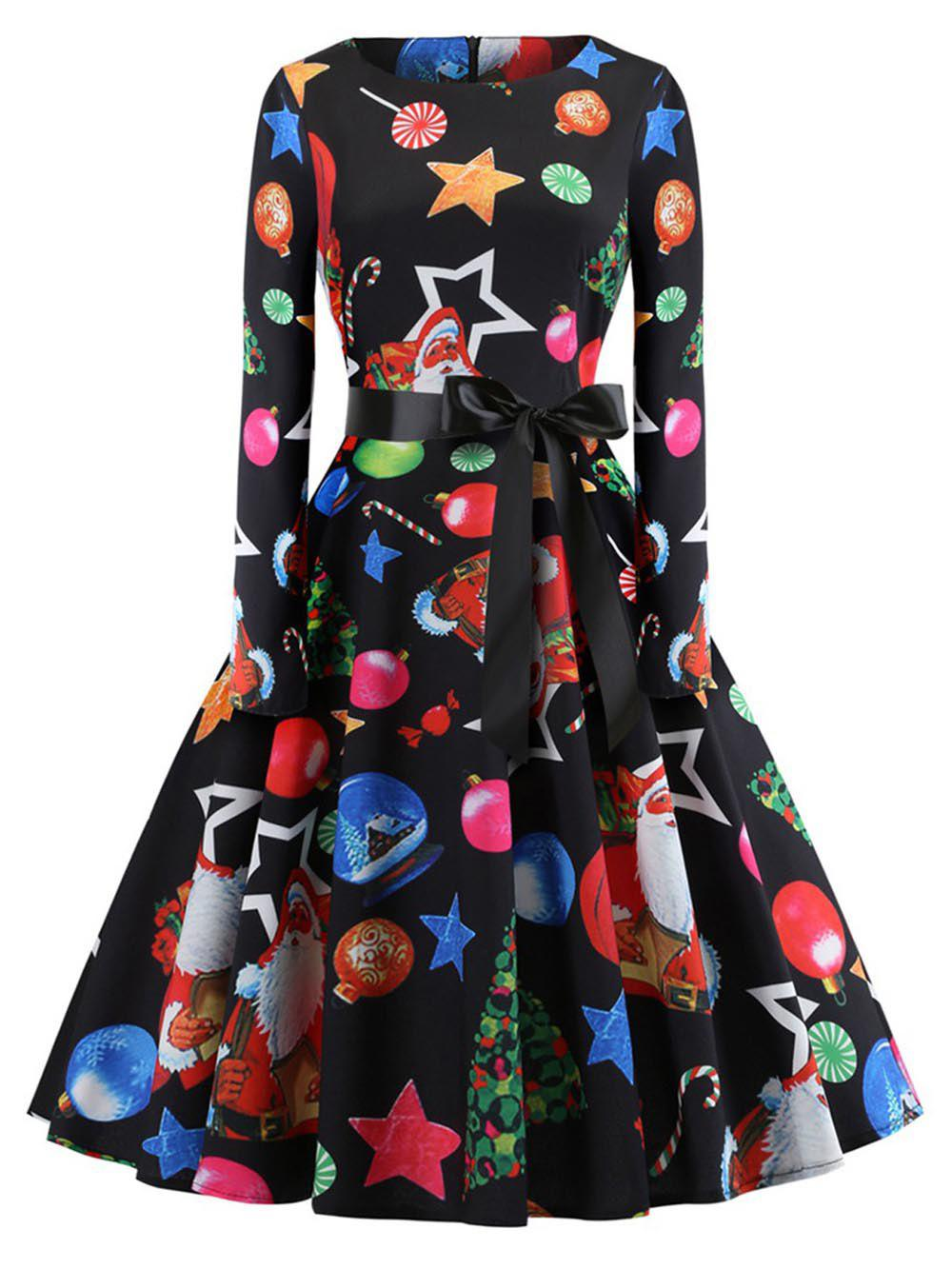 Affordable Hepburn Vintage Series Women Dress Spring And Summer Round Neck Christmas Printing Design Long Sleeve Belt Corset Dress