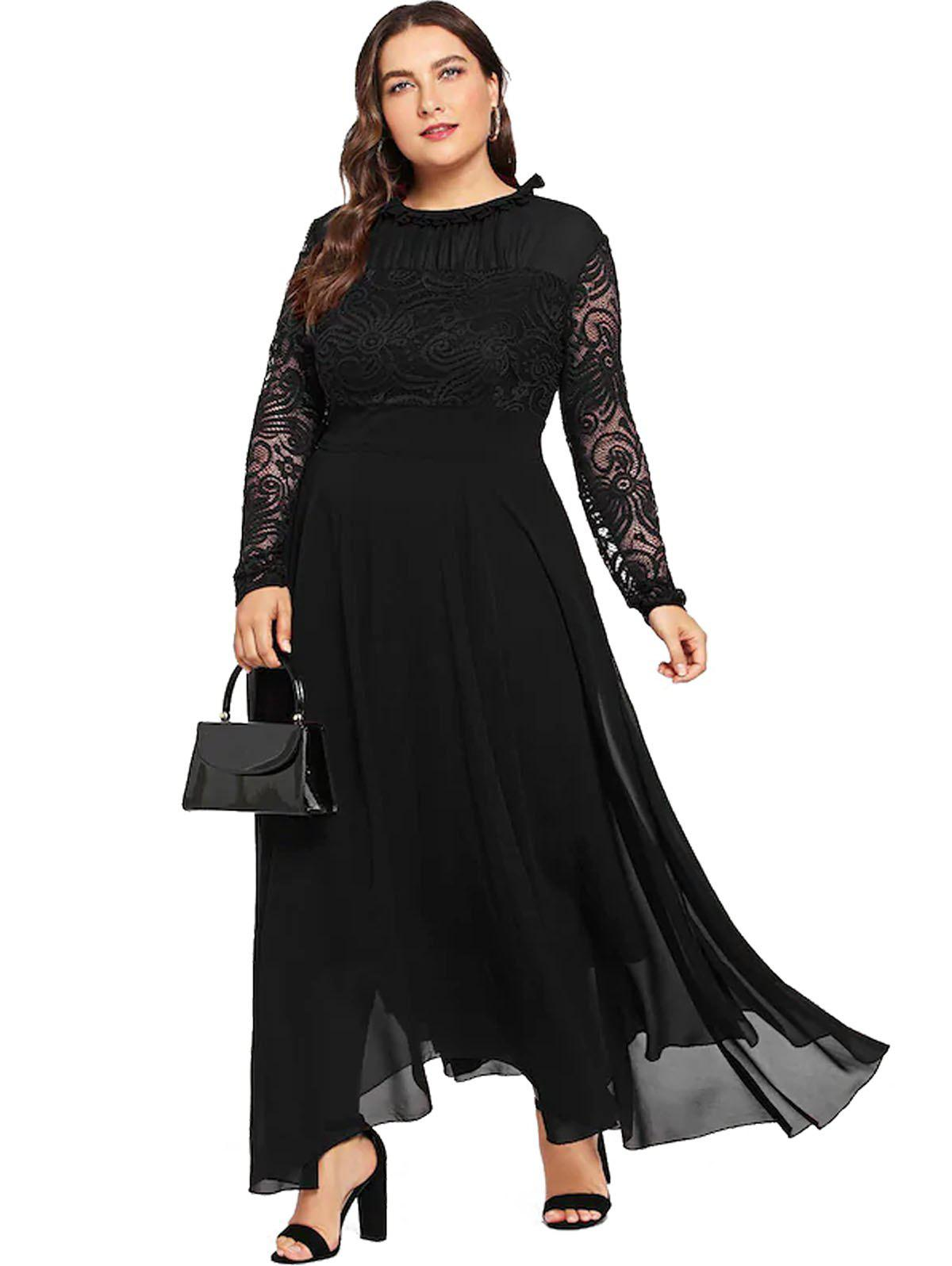 Discount Plus Size Lace Stitching Chiffon Dress