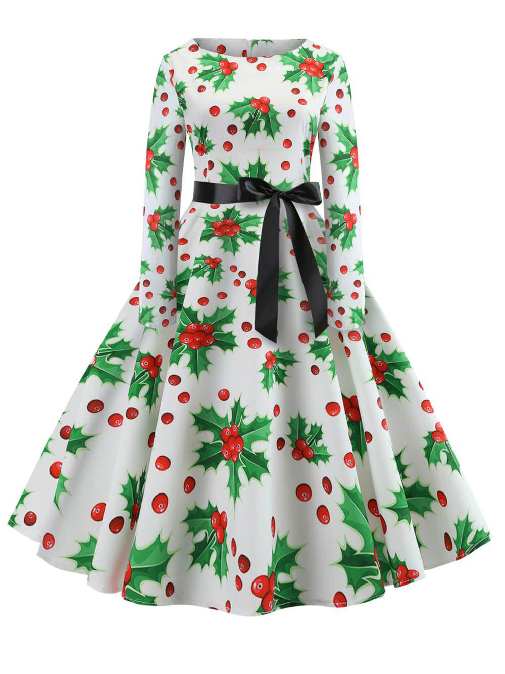 Trendy Hepburn Vintage Series Women Dress Spring And Winter Round Neck Christmas Printing Stitching Design Long Sleeve Belt Corset Retro Dress