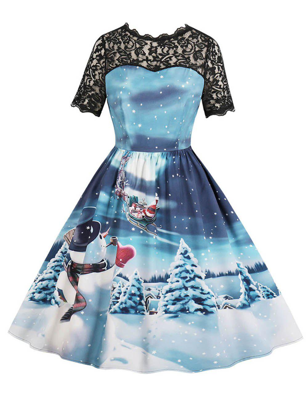 Outfit Hepburn Vintage Series Women Dress Spring And Summer Round Neck Christmas Printing Lace-stitching Design Sleeveless Corset Dress