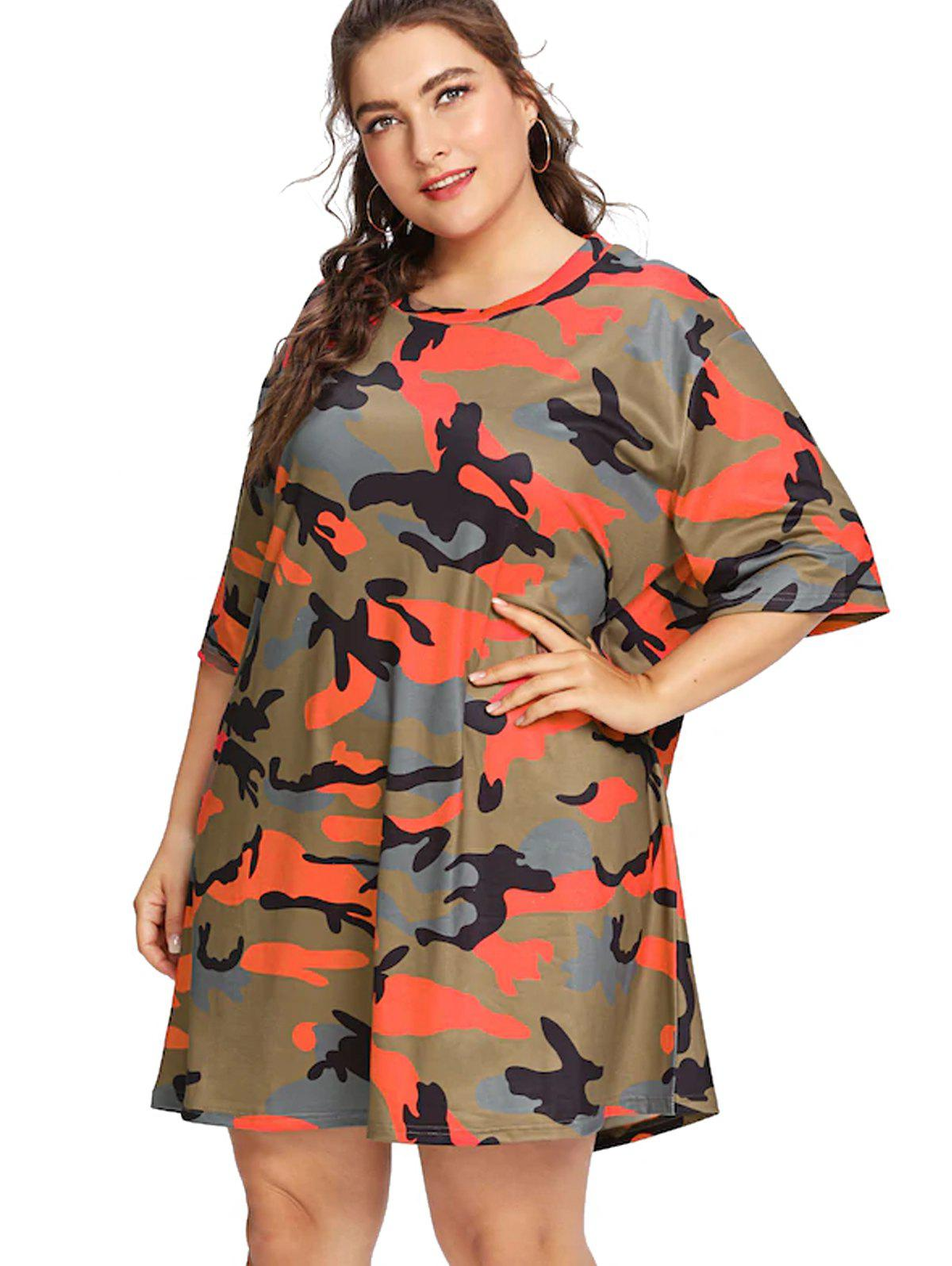 d1a637992fda1 32% OFF] Plus Size Camouflage Casual Short Sleeve T-shirt | Rosegal
