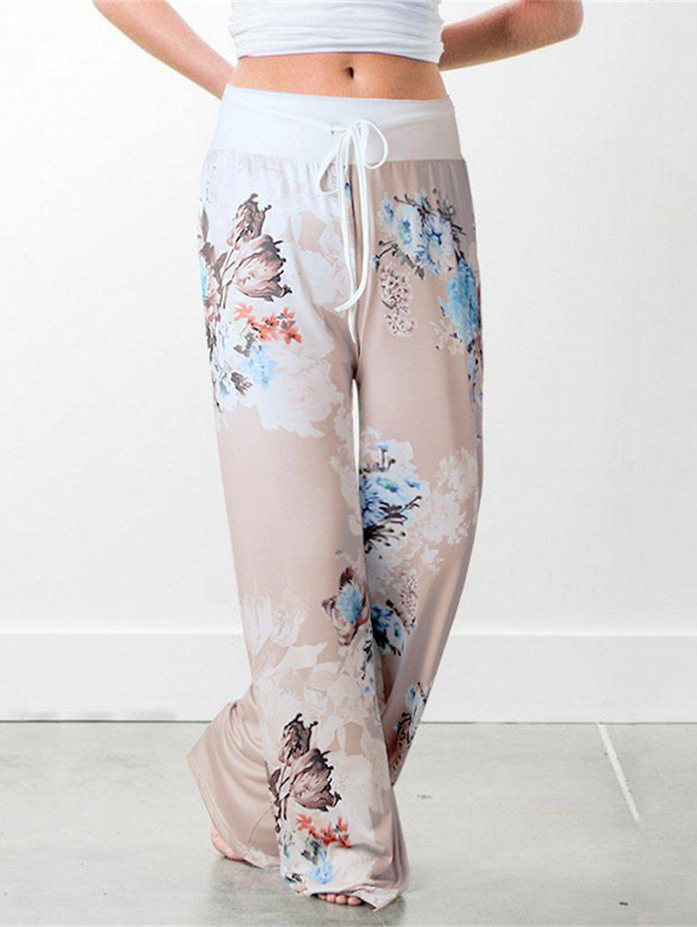 7ca993df2ebbd Sale Womens Casual Wide Leg Pajama Pants Floral Print Comfy Drawstring High  Waist Yoga Pants