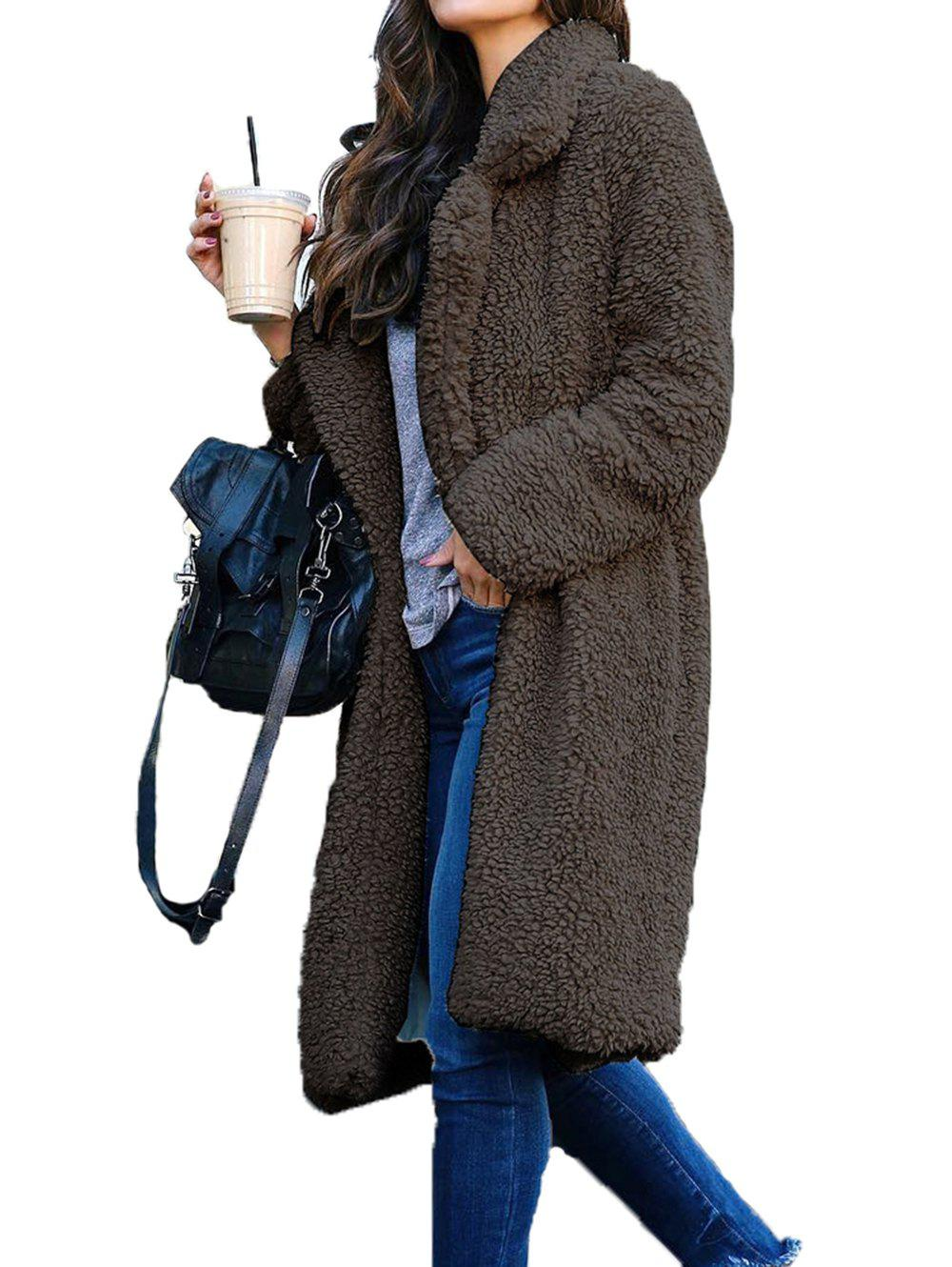 Store Womens Thick Warm Teddy Bear Pocket Fleece Jackets Lapel Coat Open Outwear Overcoat