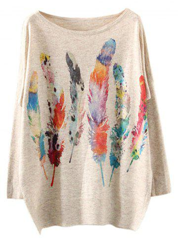 Colorful Feather Loose Printed Sweater