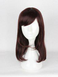 Women's Korean Style Casual Brown Hair Wigs Ladies Slanted Bangs Long Wigs -