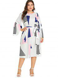 Plus Size Geometric Print  Belt Dress -