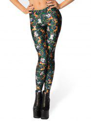 Women Classic Retro Printed Casual Pattern  Length Elastic Tights Leggings -