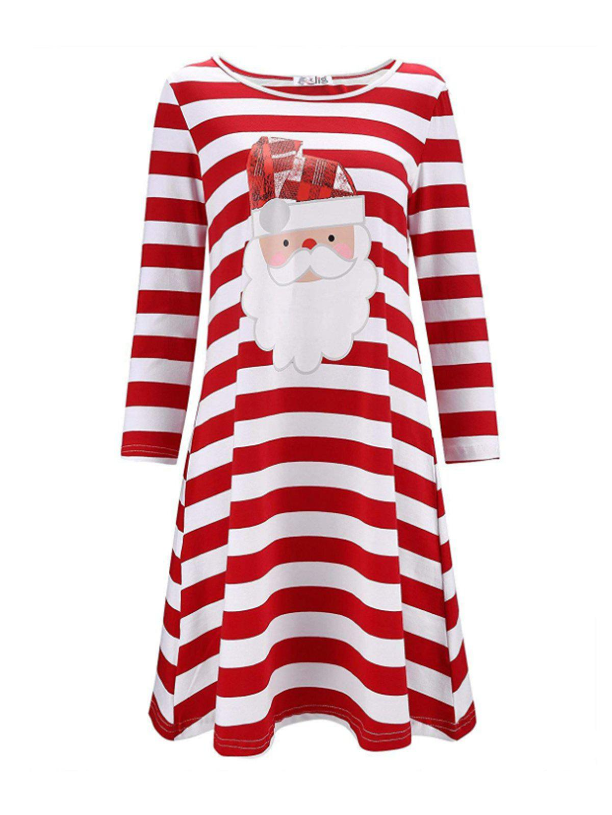 Affordable Christmas Print Stripe Casual Dress