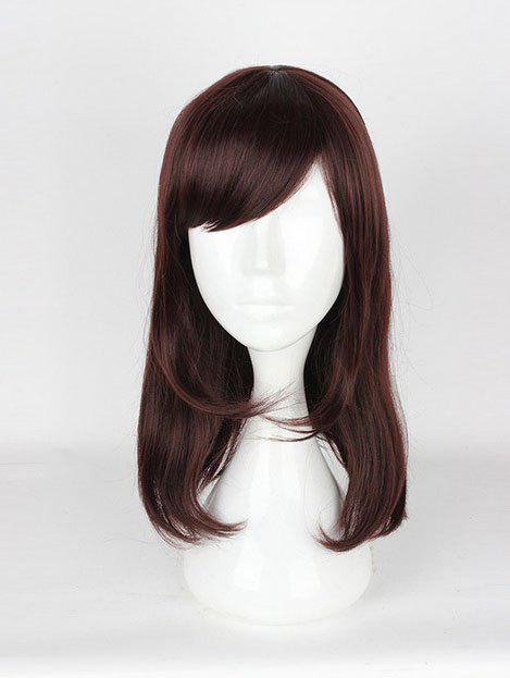 Affordable Women's Korean Style Casual Brown Hair Wigs Ladies Slanted Bangs Long Wigs
