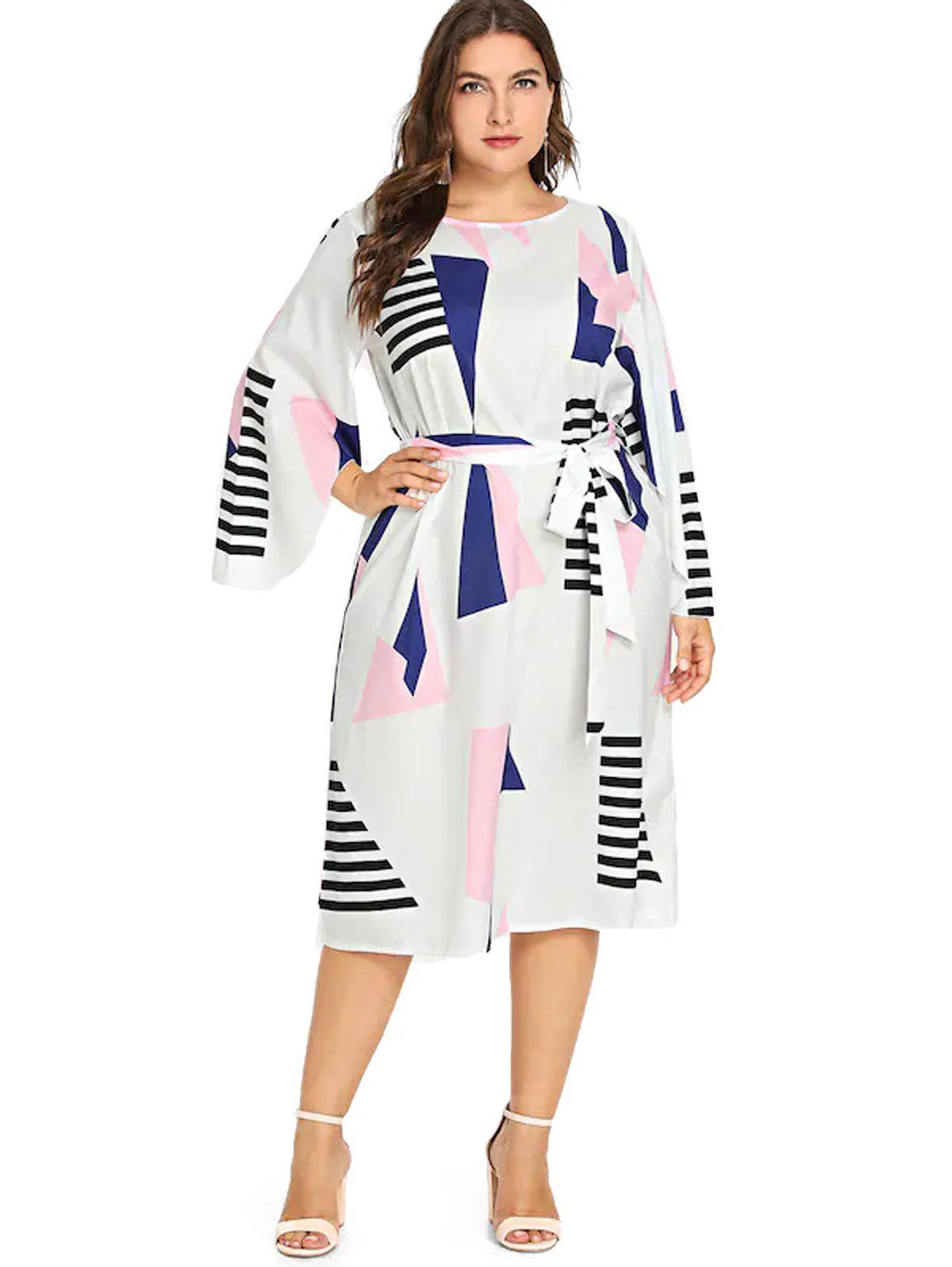 Trendy Plus Size Geometric Print  Belt Dress