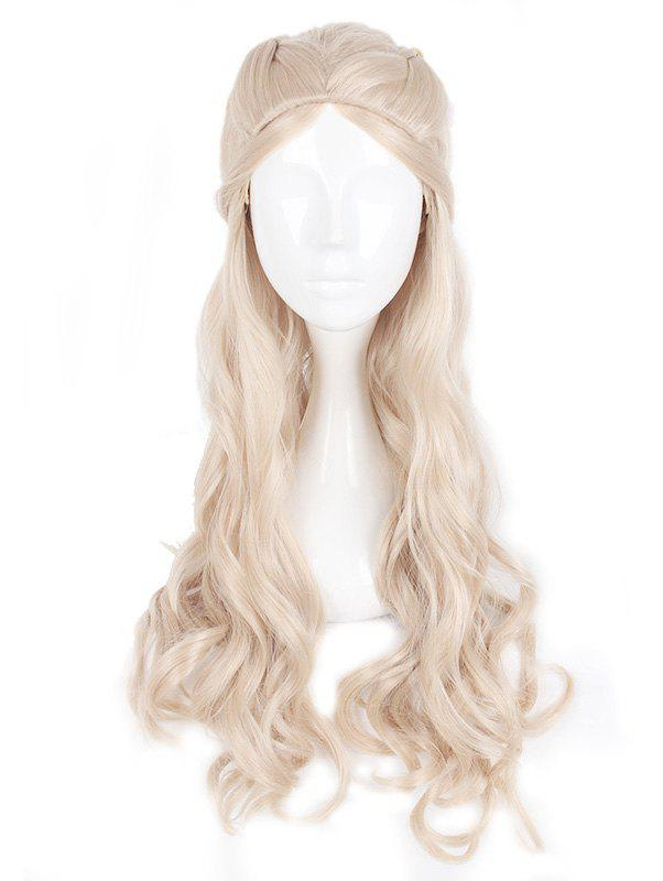 Discount Women's Silver Long Curle Braids Hair Wig Ladies Cosplay Wig