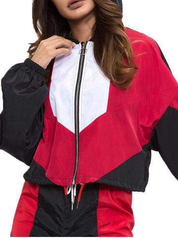 Colorblock Lapel Long Sleeved Jacket