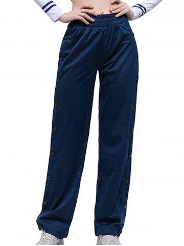 Split Side Button Wide Leg Slacks - BLUE - S