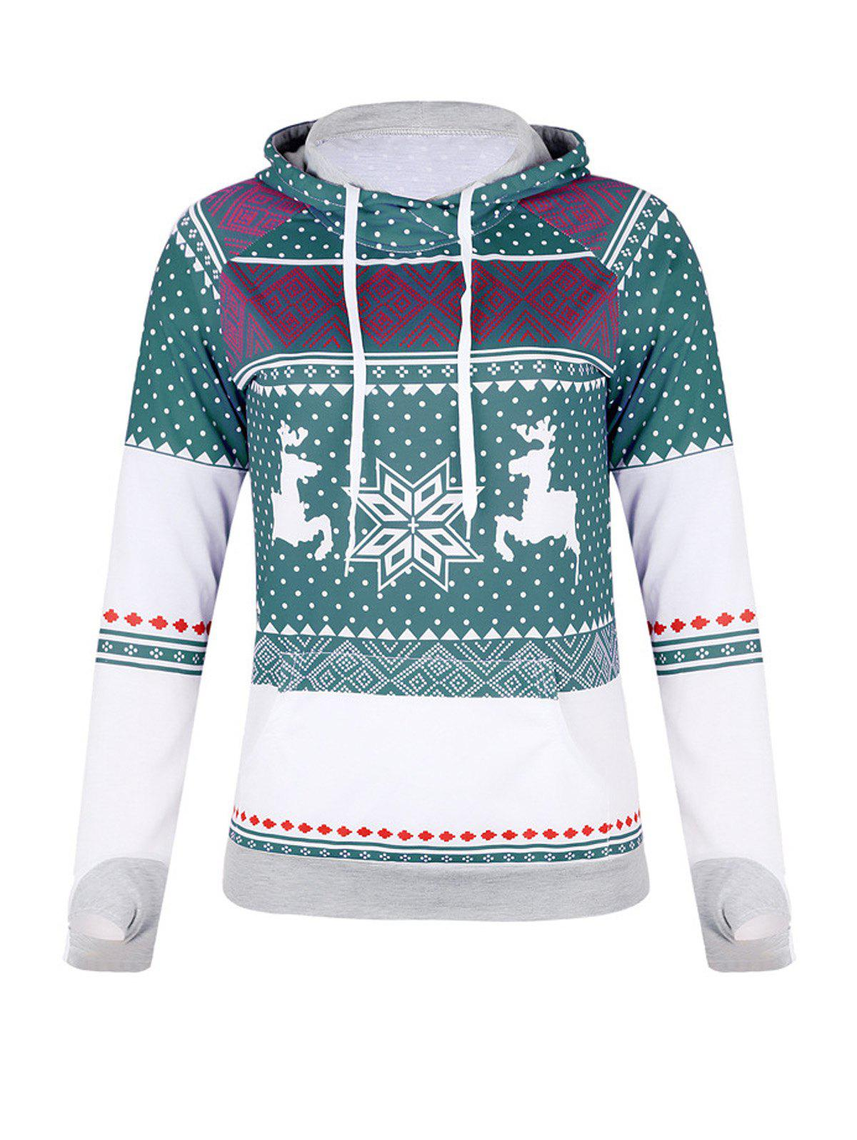 Buy Christmas Print Zip Pocket Hoodie