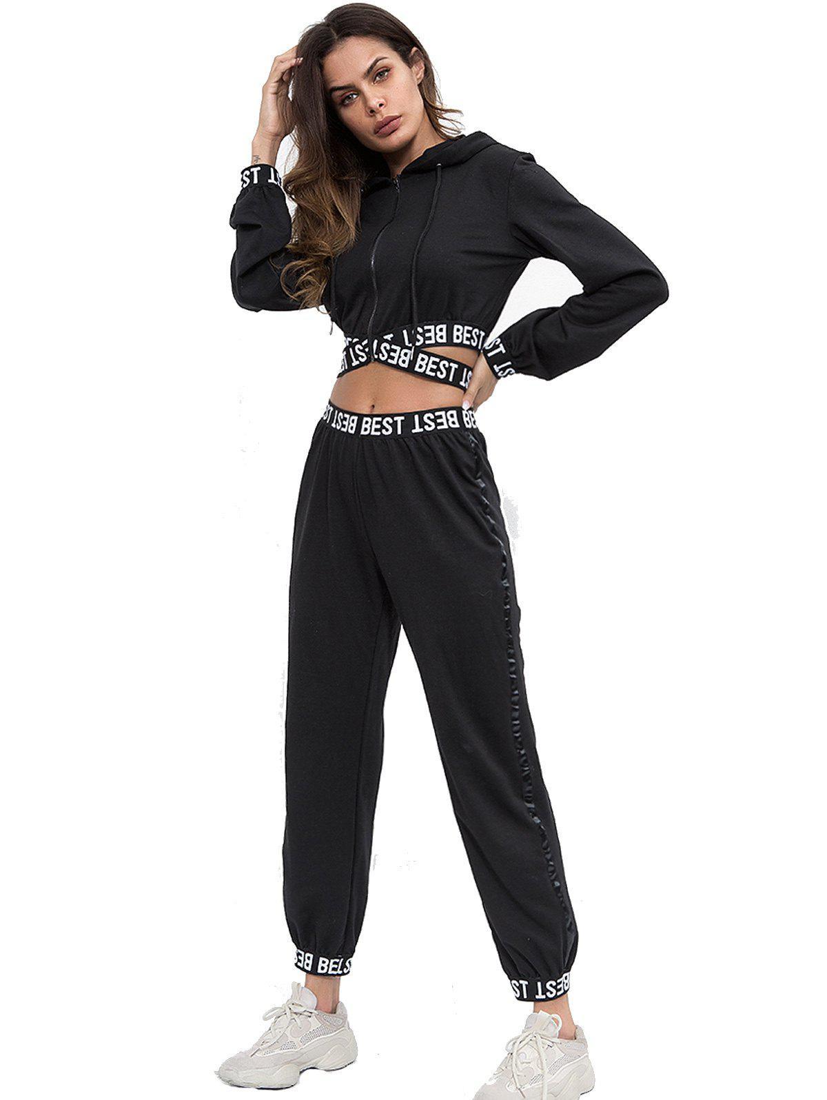 Store Letter Webbing Splicing Hooded Casual Navel Sports suit
