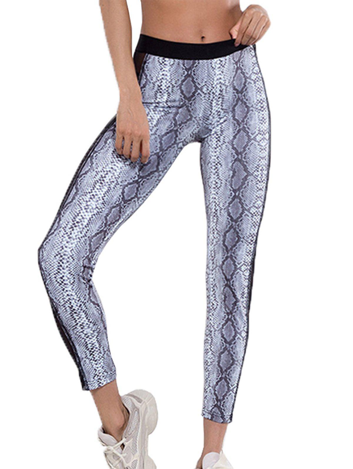 Affordable Slim-fit Mesh Gauze Stitching Serpentine Yoga Pants