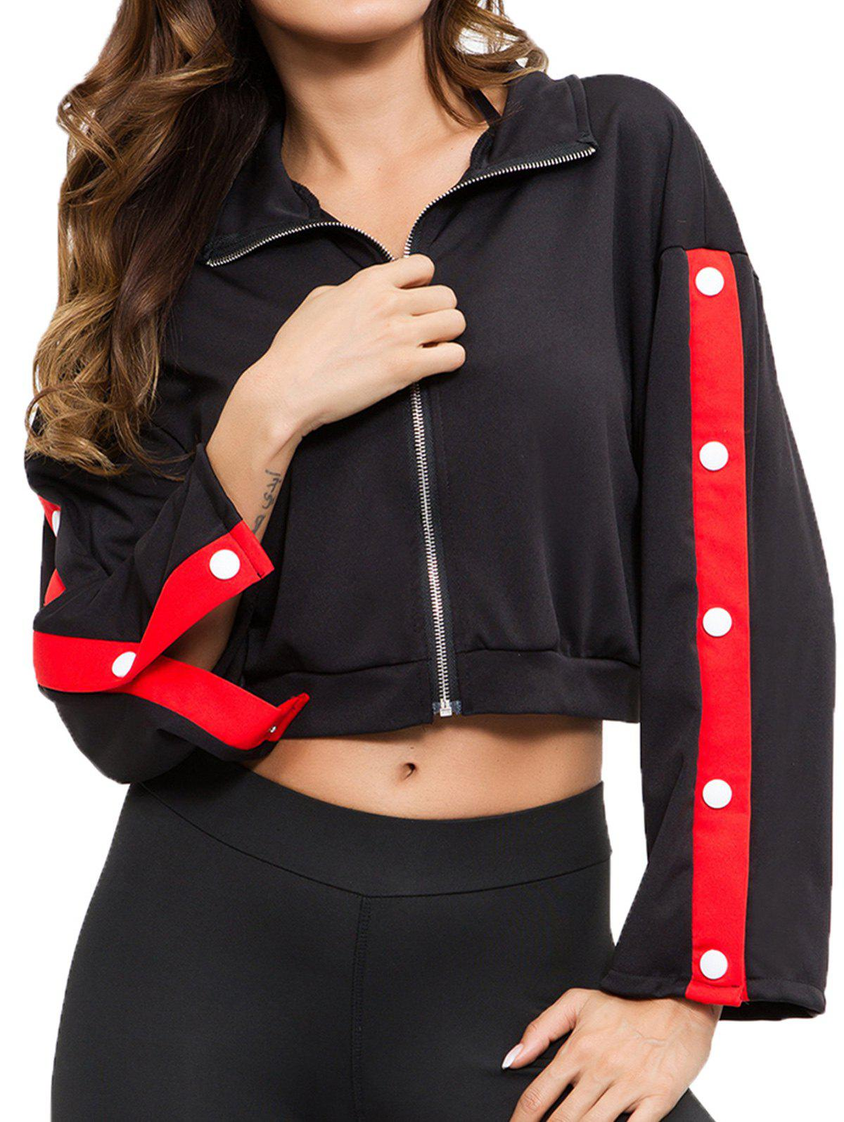 Fashion Sexy Navel Button Colorblock Zipper Jacket