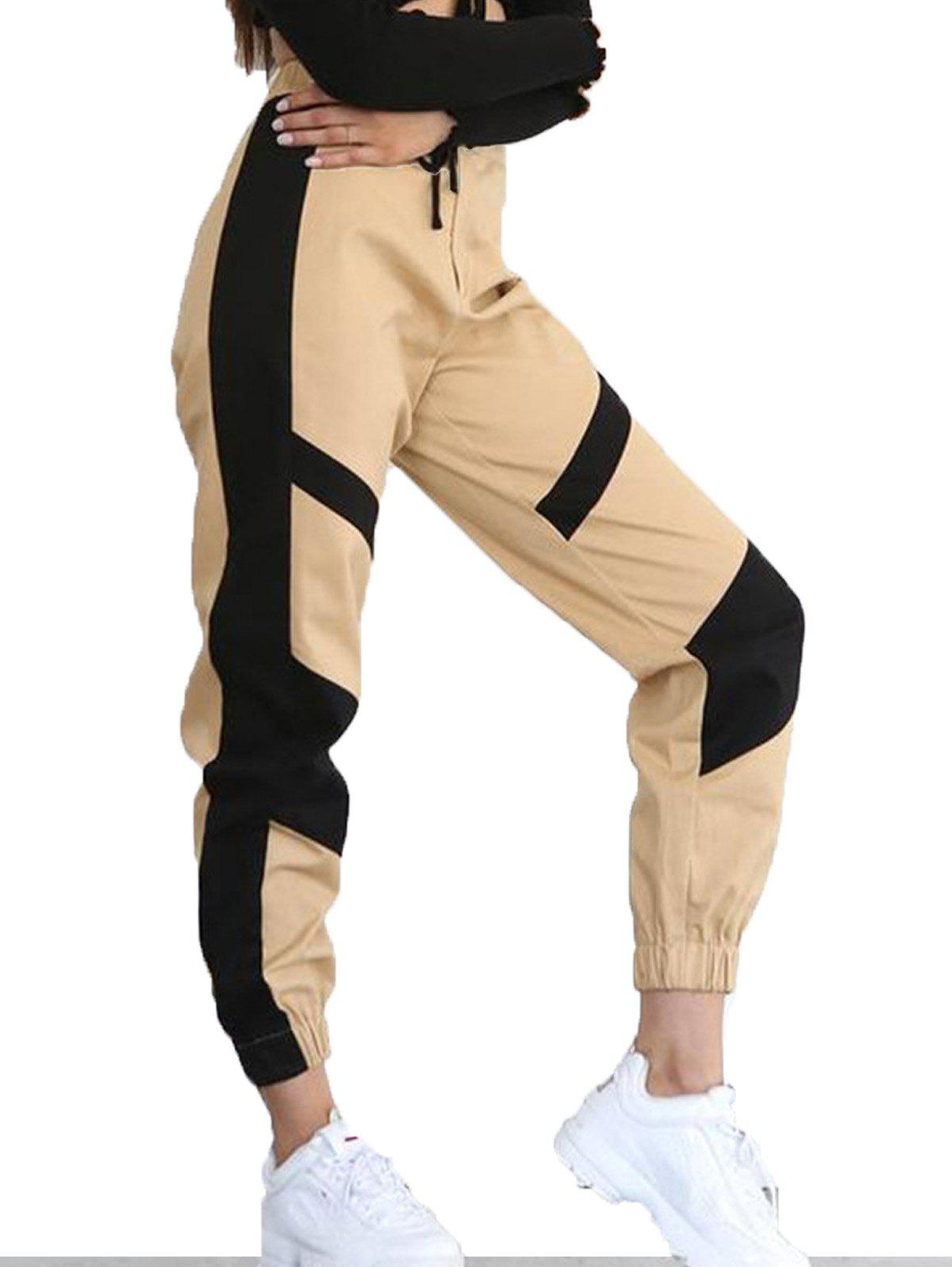 Store High Waist Color Matching Casual Pants