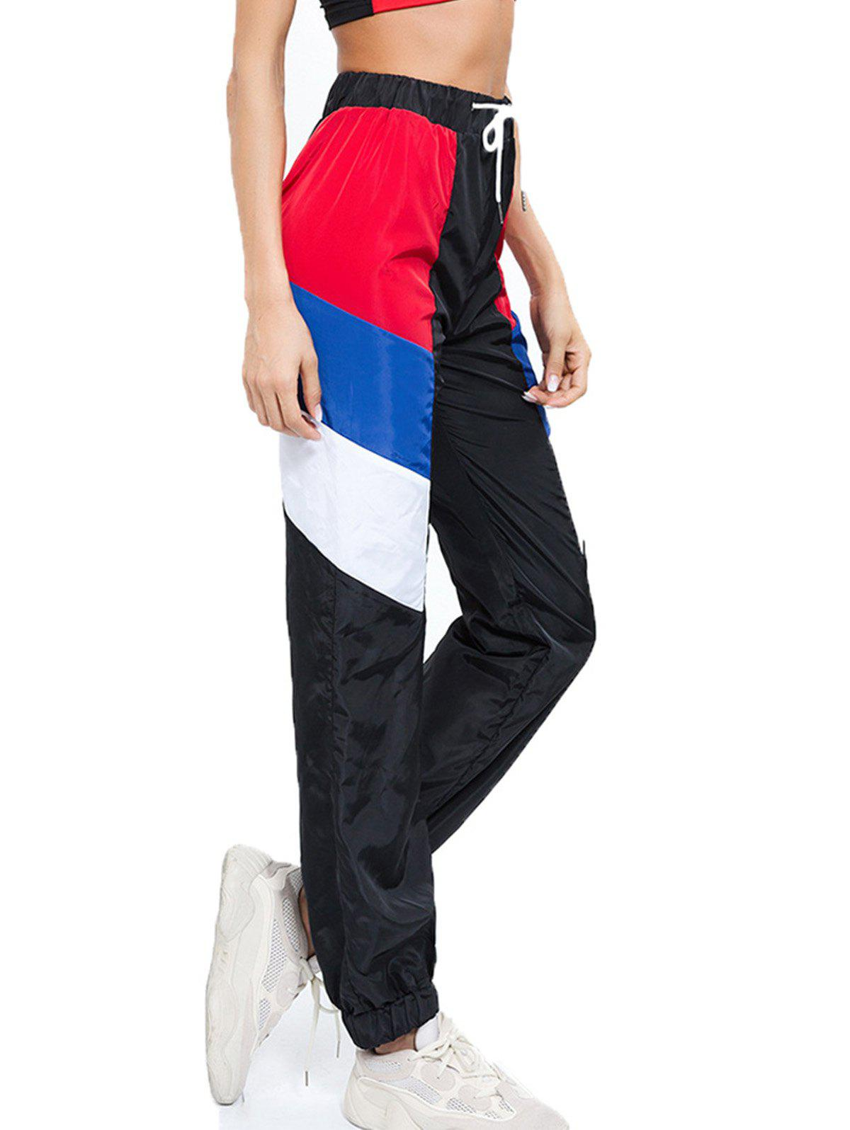 Fancy Color Matching Drawstring Casual Beam Pants