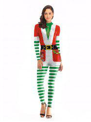 Women Sexy Fashion Print Long Sleeve Christmas Jumpsuits Santa Costume -