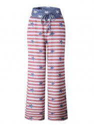 Womens Stretch Comfy Striped Drawstring Wide Leg High Waisted Pajama Pants -