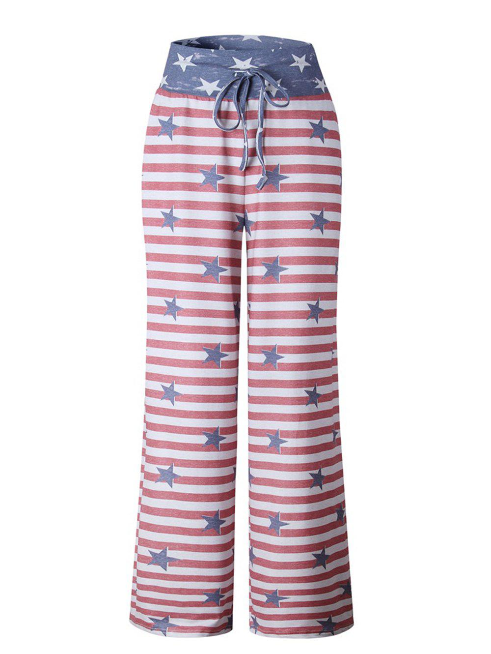 Shops Womens Stretch Comfy Striped Drawstring Wide Leg High Waisted Pajama Pants