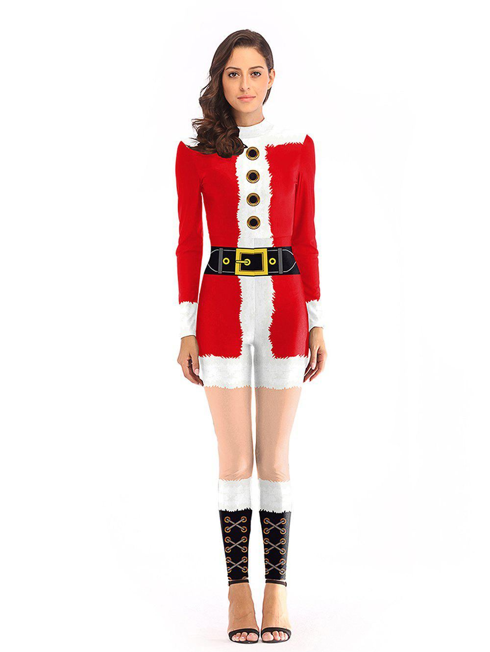 Affordable Women Sexy Fashion Print Long Sleeve Christmas Jumpsuits Santa Costume
