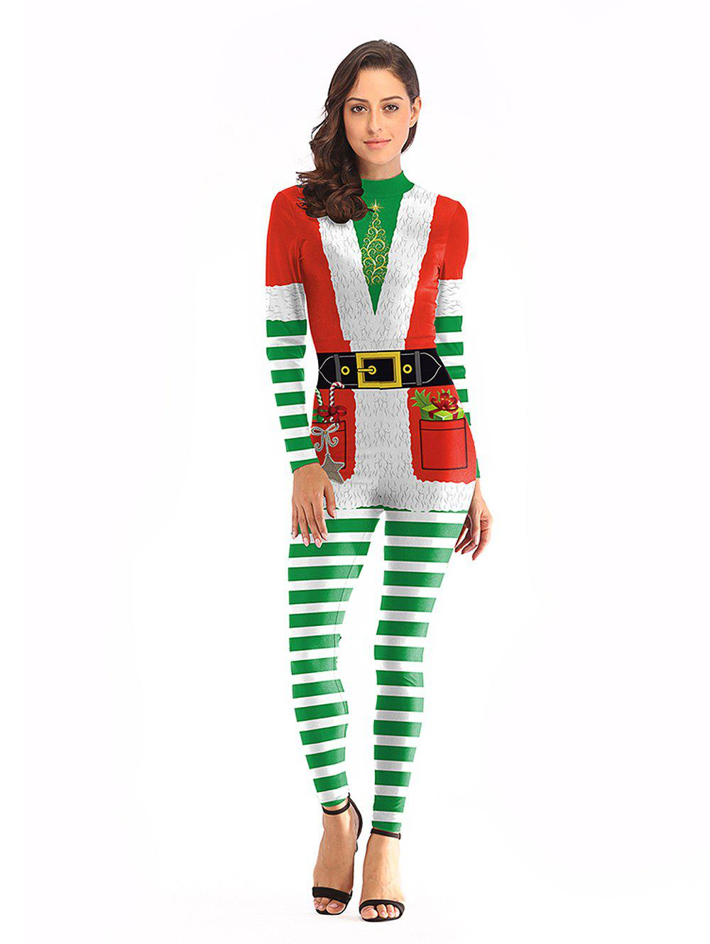 Hot Women Sexy Fashion Print Long Sleeve Christmas Jumpsuits Santa Costume