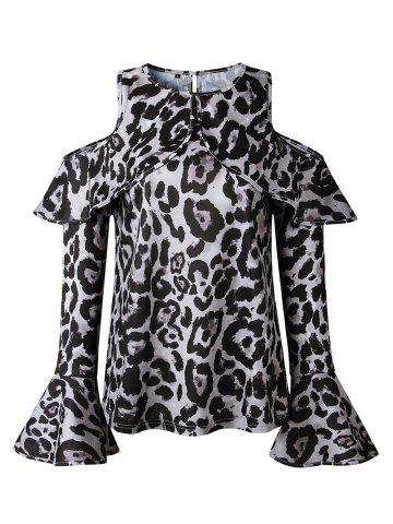 7b0c256d244 Women Sexy Top Off Shoulder Leopard Print Casual O-Neck Shirt Fashion Long  Sleeve Blouse