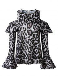 Women Sexy Top Off Shoulder Leopard Print Casual O-Neck Shirt Fashion Long Sleeve Blouse -