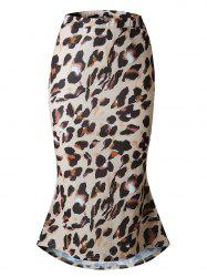 Womens Elegant  High Waist Pencil Mid-Calf Skirt Leopard Print Skirt -
