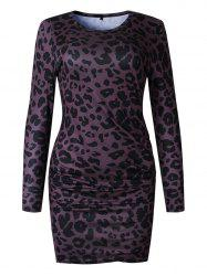 Womens Leopard print Bodycon Dress Casual Scoop Neck Long Sleeves Mini Pencil Dresses -
