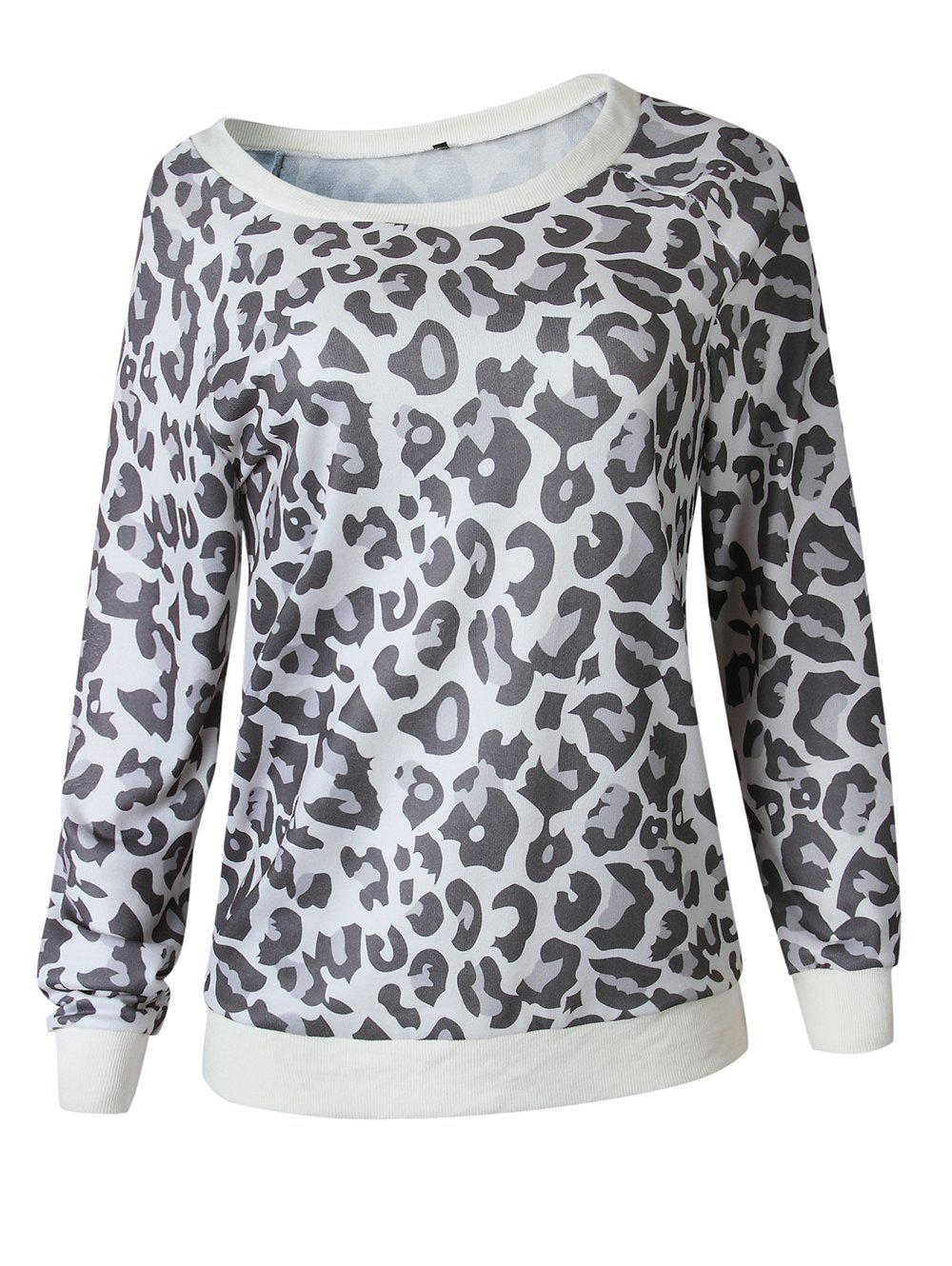 b2c6cdfb3313a Discount Women Casual Leopard Print Long Sleeve Sweatshirt Pullover Shirt  Top Blouse