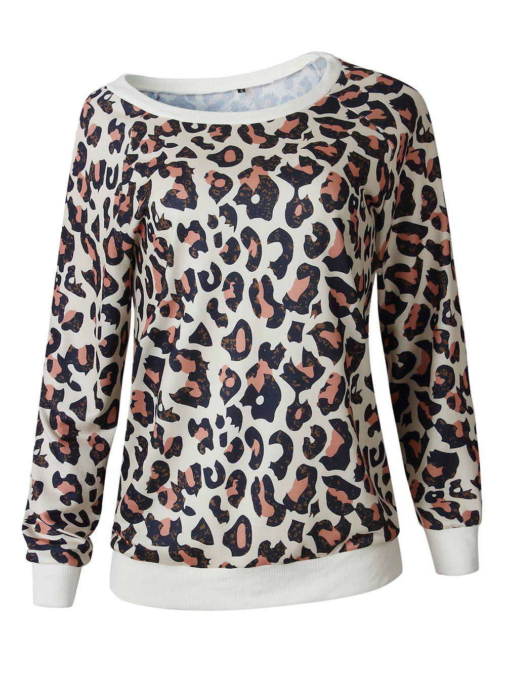 f2799fc64ae0d Affordable Women Casual Leopard Print Long Sleeve Sweatshirt Pullover Shirt  Top Blouse