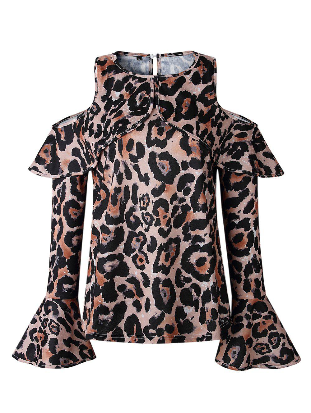 4721915e39c7a Women Sexy Top Off Shoulder Leopard Print Casual O-Neck Shirt Fashion Long  Sleeve Blouse - Xl
