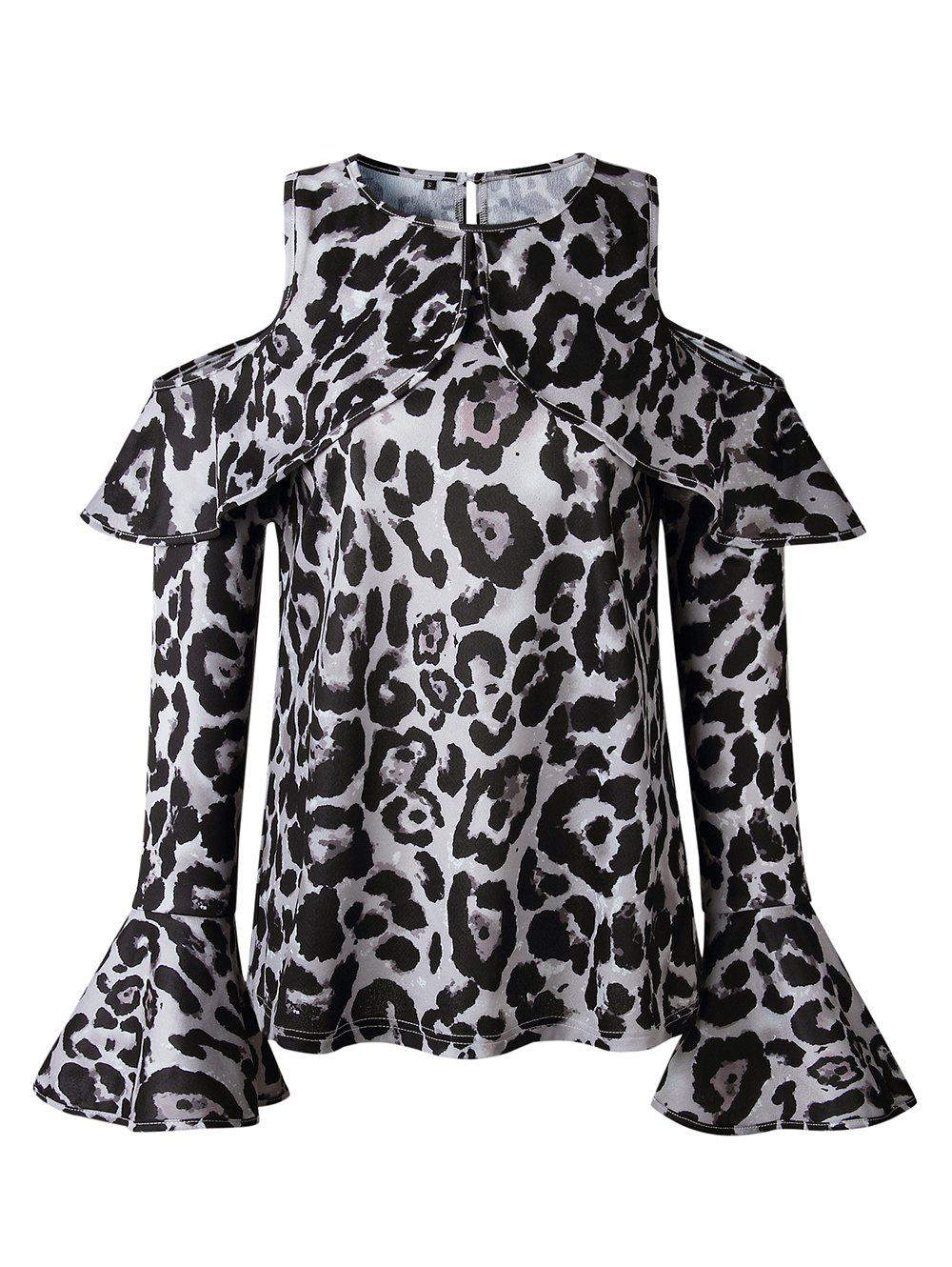 Online Women Sexy Top Off Shoulder Leopard Print Casual O-Neck Shirt Fashion Long Sleeve Blouse