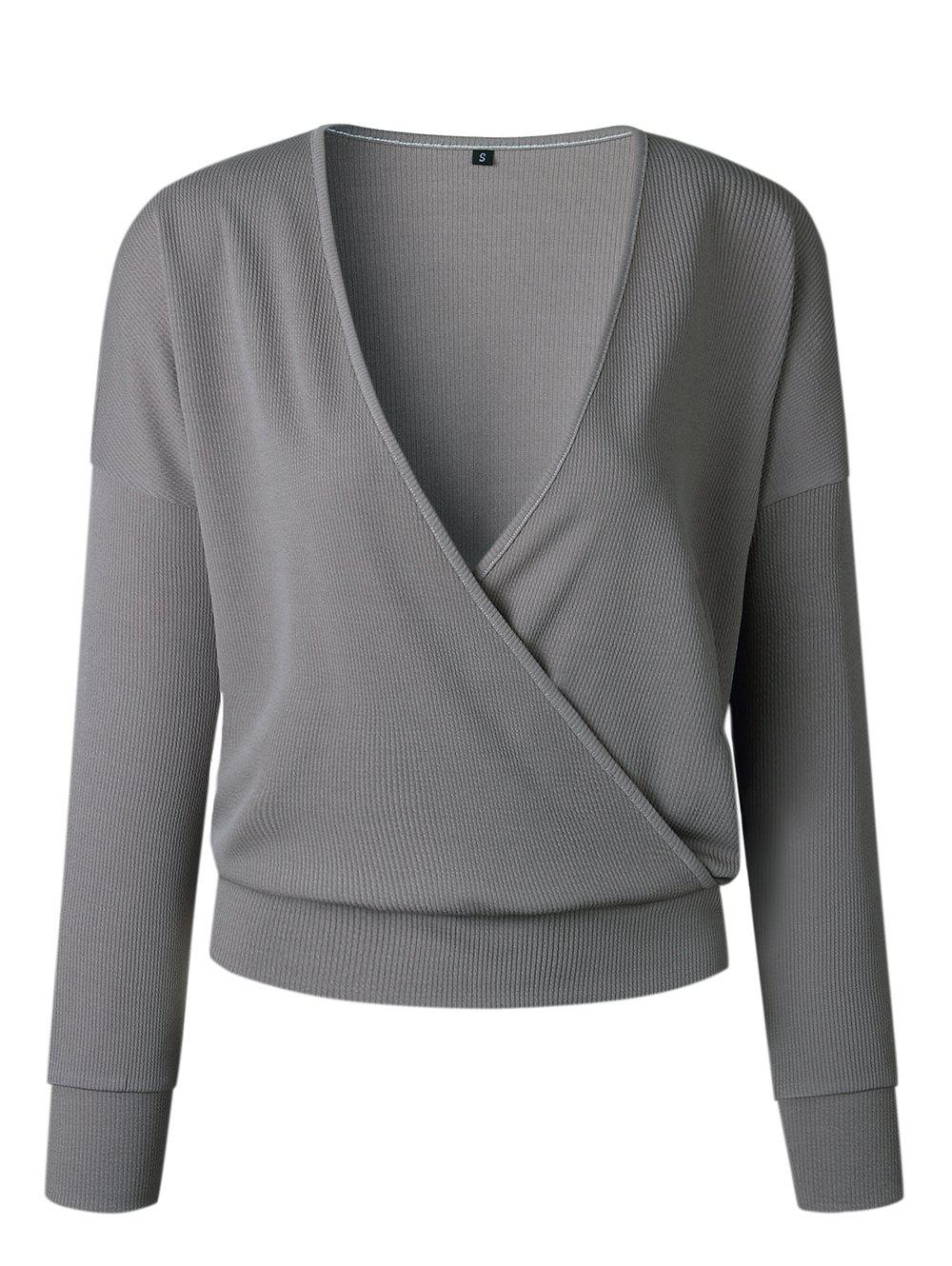 919737ccc2 Trendy Womens Ladies V Neck Jumper Ribbed Long Sleeve Sweater Crop Tops  Shirt