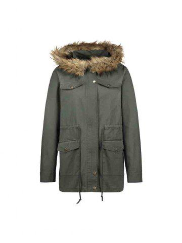 Casual Parka Coats Military Faux Fur Hooded Trench Jackets - ARMY GREEN - M