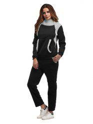 Constrast Color Thick Hoodie Pants Sets -