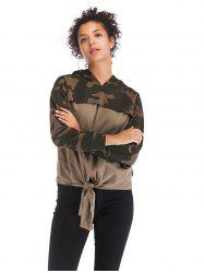 Hooded Surplice Knotted Shirt -