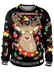 Unisex Funny 3D Graphic Print Reindeer Christmas  Sweatshirt for Xmas Party -