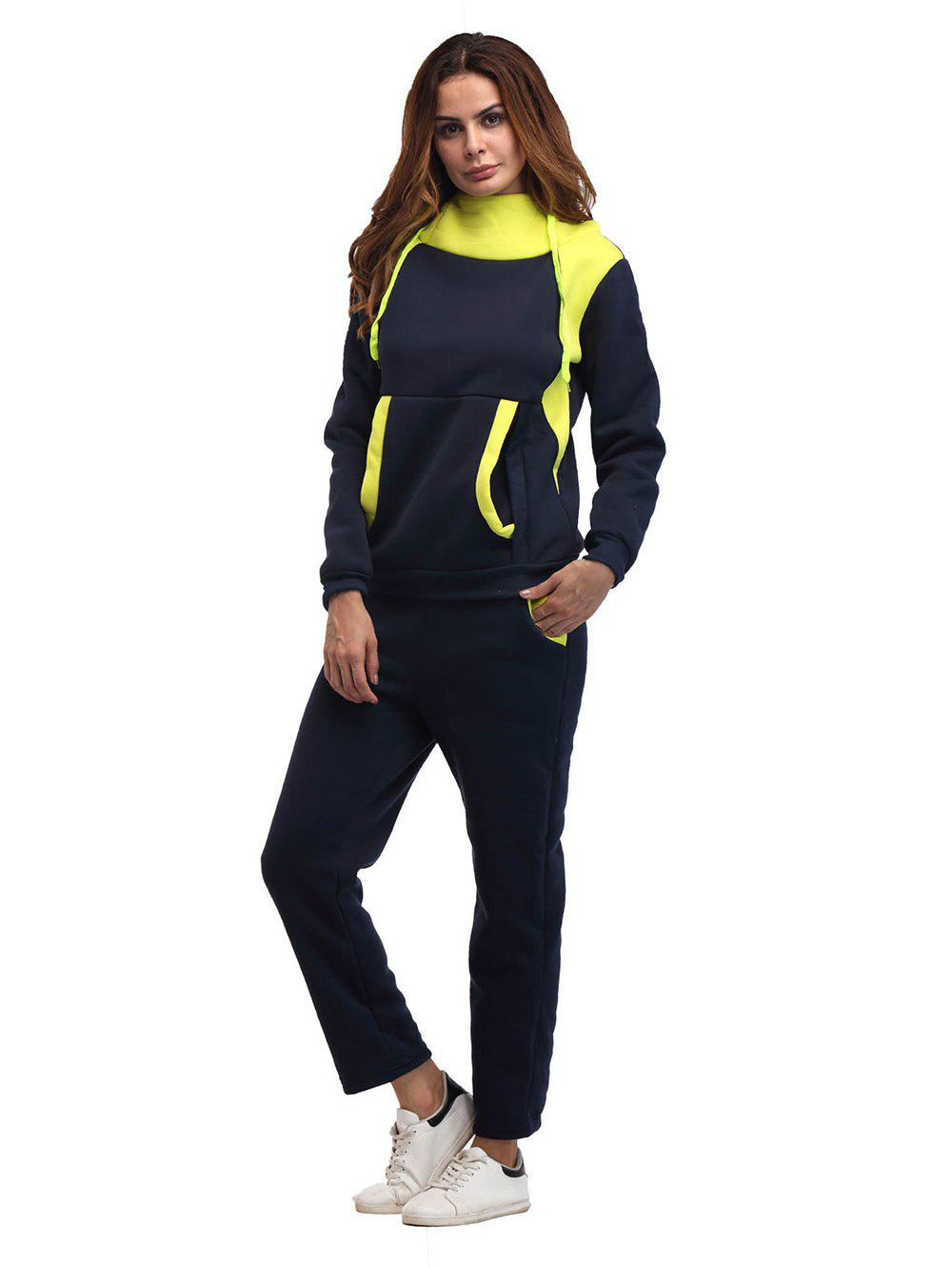 Outfits Constrast Color Thick Hoodie Pants Sets