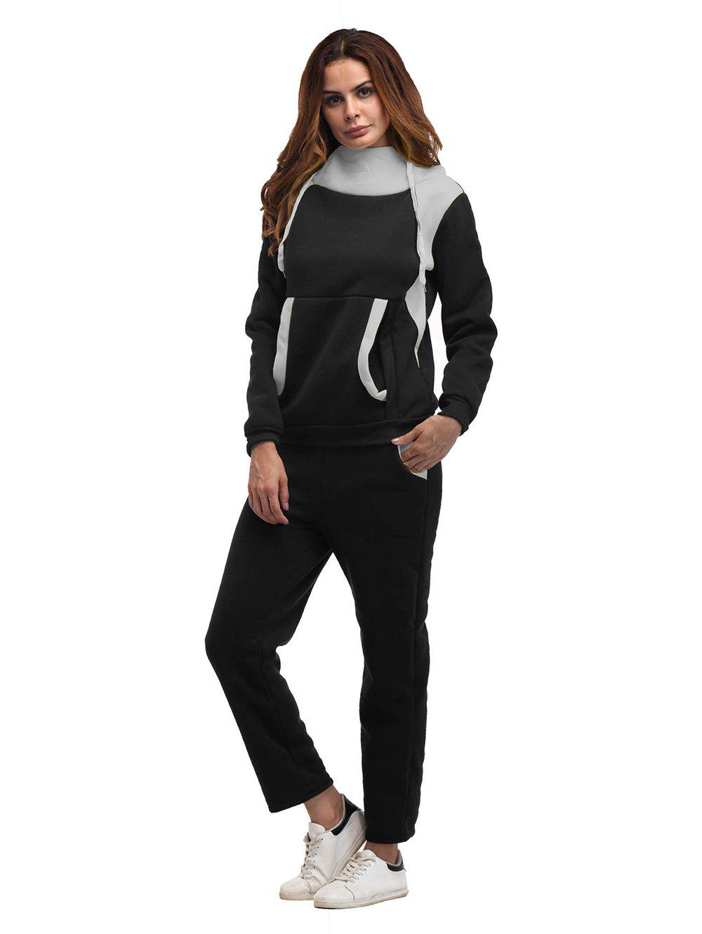 Shops Constrast Color Thick Hoodie Pants Sets