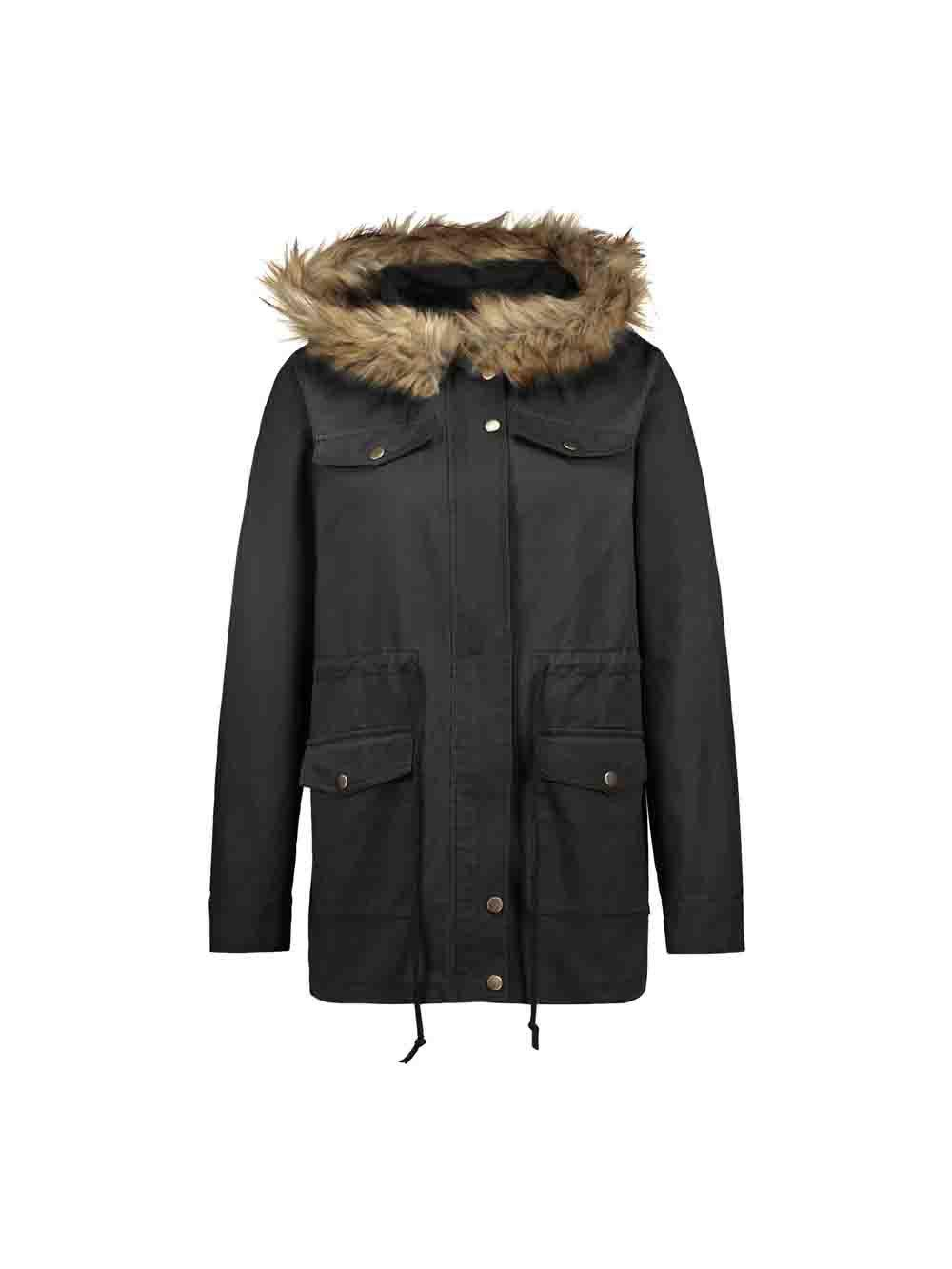 Trendy Casual Parka Coats Military Faux Fur Hooded Trench Jackets