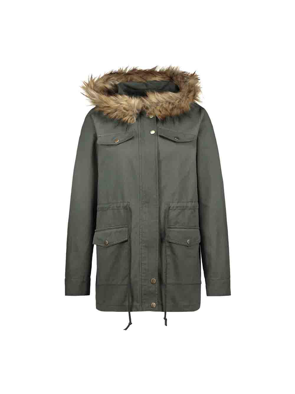 Chic Casual Parka Coats Military Faux Fur Hooded Trench Jackets