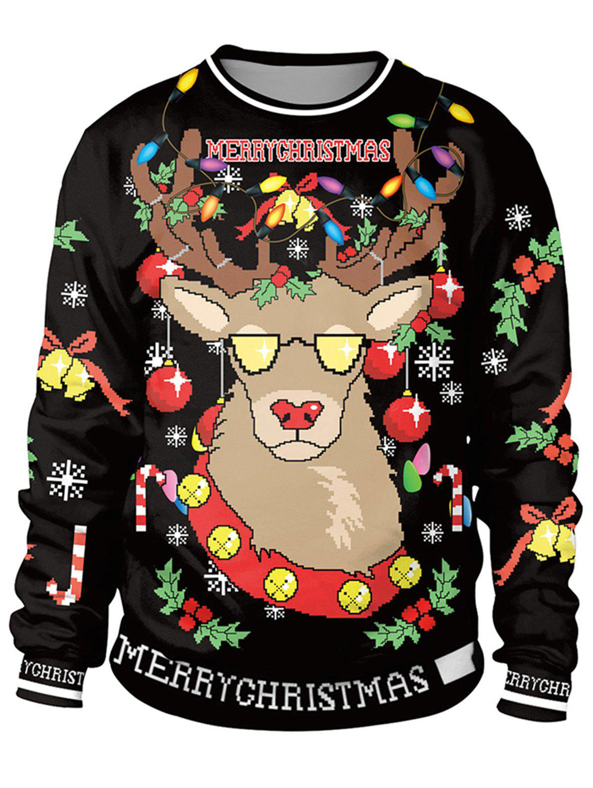 Online Unisex Funny 3D Graphic Print Reindeer Christmas  Sweatshirt for Xmas Party