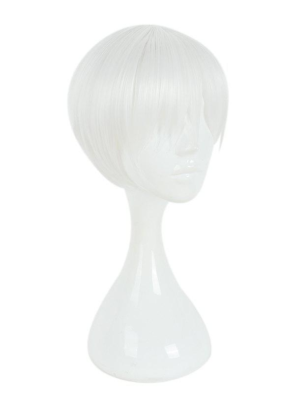 Discount Men's White Short Fake Fringe Hair Cosplay Wig Casual Wigs